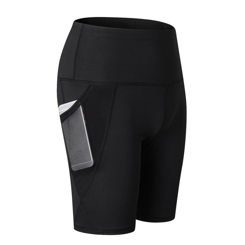 High-waist yoga mesh pockets Running training <font><b>sports</b></font> tight-fitting quick-drying fitness <font><b>shorts</b></font> image