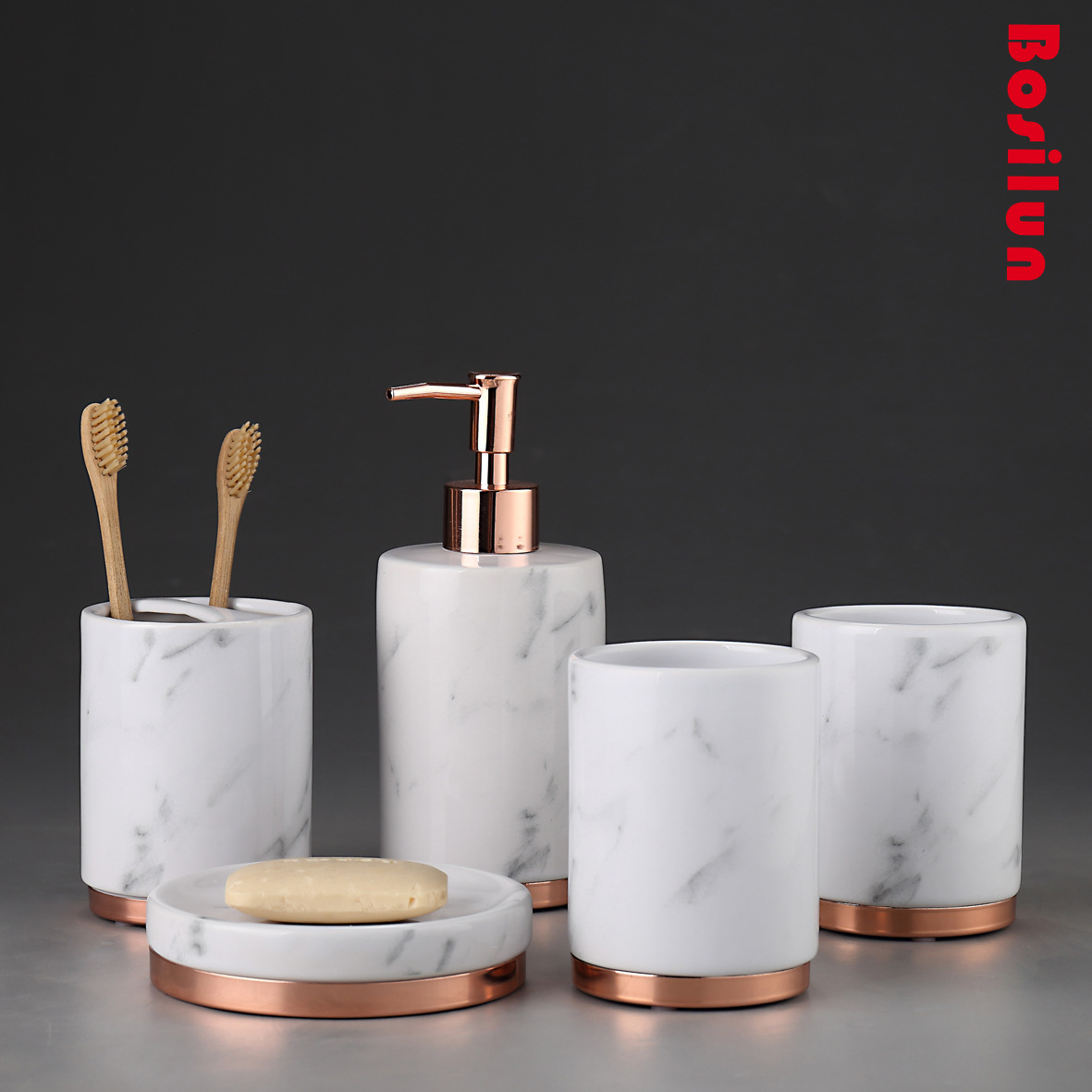 White Bathroom Accessories Ceramic Toothbrush Holder Set Soap Dispenser Soap Dish Lotion Bottle Ceramic Bathroom products image