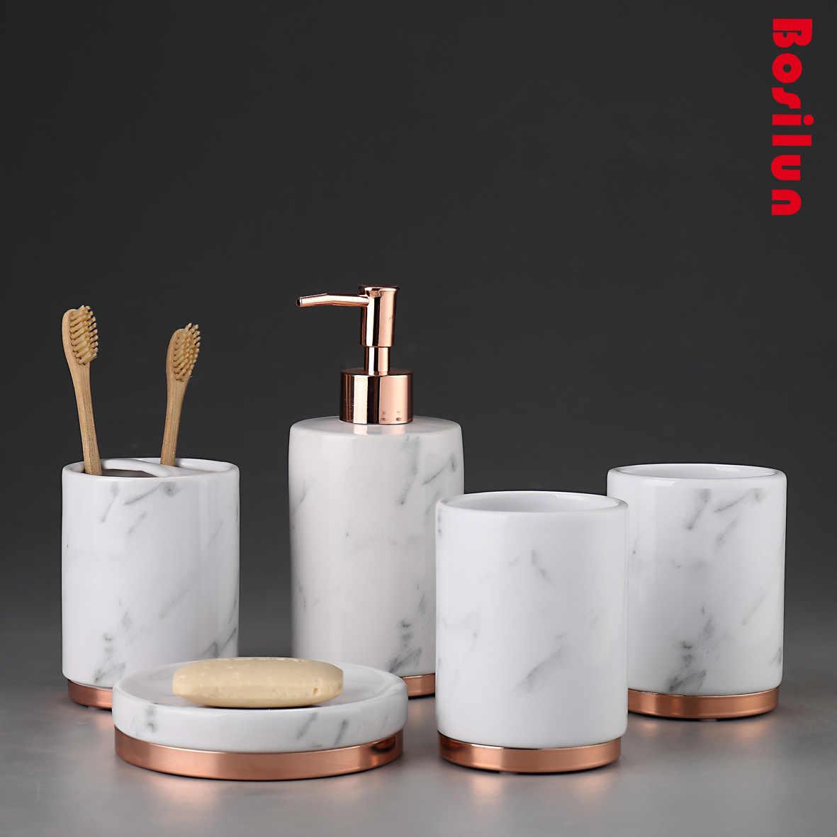 Bad Zubehör Weiß Keramik Sets Seife Spender Dusche Tasse Halter Zahnbürste Halter 5 stücke Keramik Bad Set