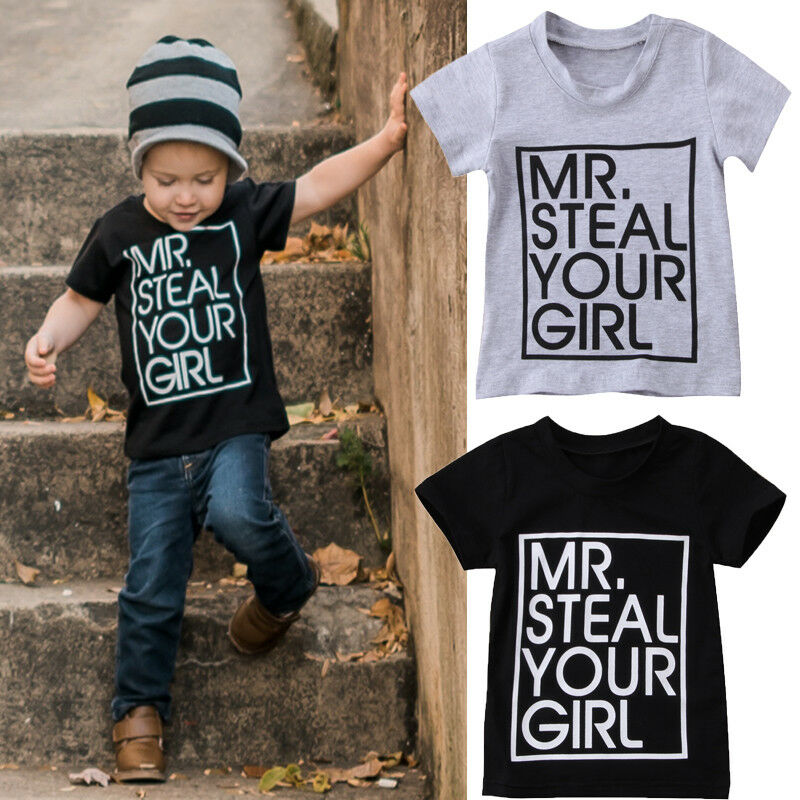 Hot Modis 1-6Y Toddler Baby Kids Girls Boys Shirt Summer Short Sleeve Cotton T-Shirt Clothes Fashion Cool Boy MR Steal