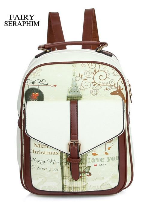 Bolsas para Adolescentes Bolsa do Estilo Faculdade do Vintage Serafins Fada Leather Backpack School Menina Mochilas Escolares Mulheres Europeu pu