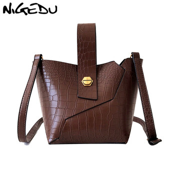 72e9d499b62f NIGEDU для женщин сумка через плечо известный бренд из искусственной кожи в  форме ведерка для дам