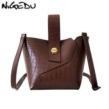 купить NIGEDU Women Crossbody Bag Famous Brand PU Leather Bucket Shoulder Bag for Ladies Crocodile handbag Designer Small Totes Purse дешево