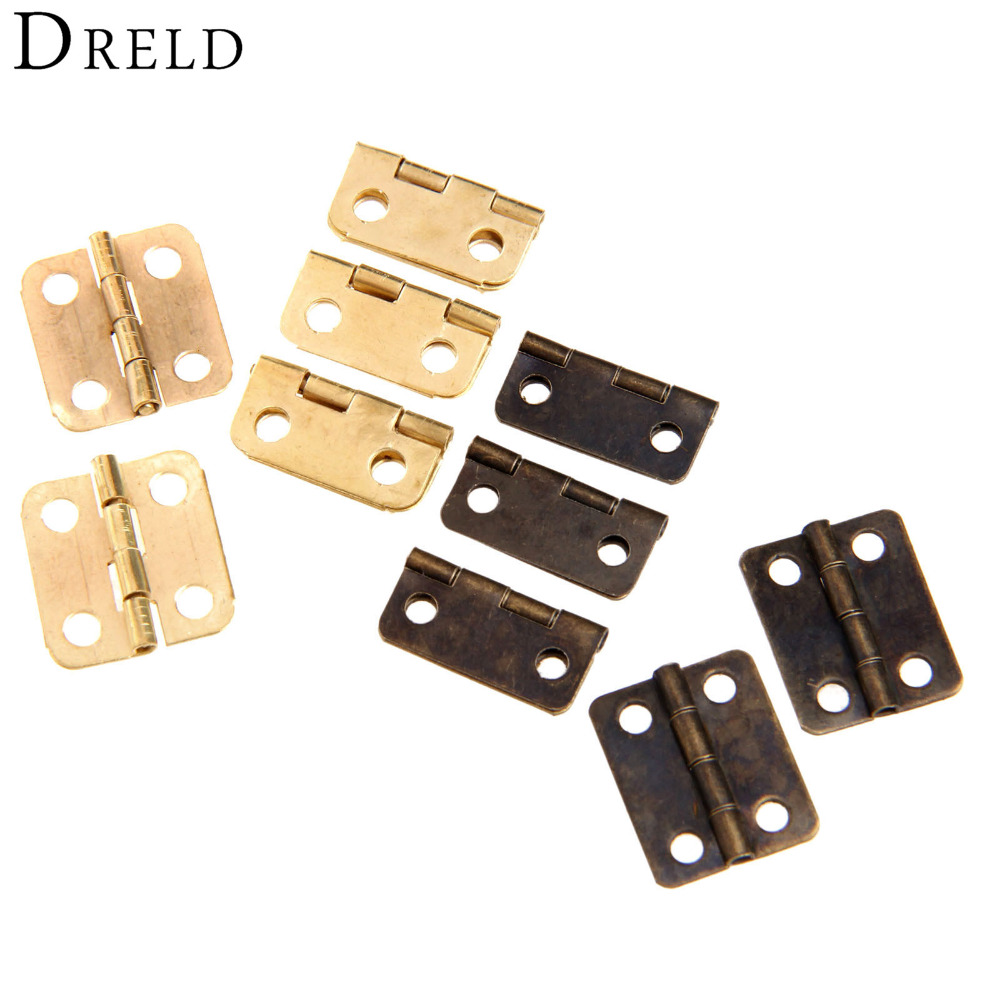 10Pcs Antique Bronze/Gold Cabinet Hinges Furniture Accessories Jewelry Boxes Small Hinge Furniture Fittings For Cabinets 16x13mm nervilamp 710 2a gold bronze