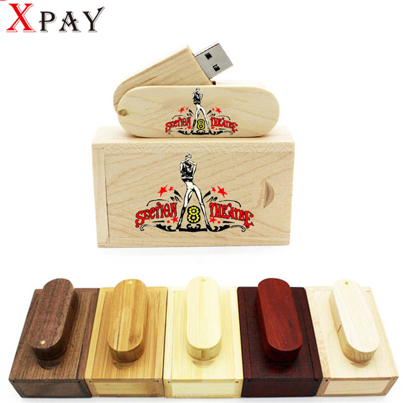 Xpay (Over 10 Pcs Free Logo) Usb Flash Drive Maple Wooden Usb + Gift Box Pendrive 8gb 16gb Memory Stick Photography Gifts