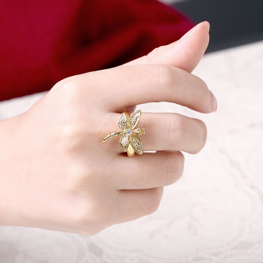 24k Gold Plated dragonflies ring Fashion female models cute vintage ...