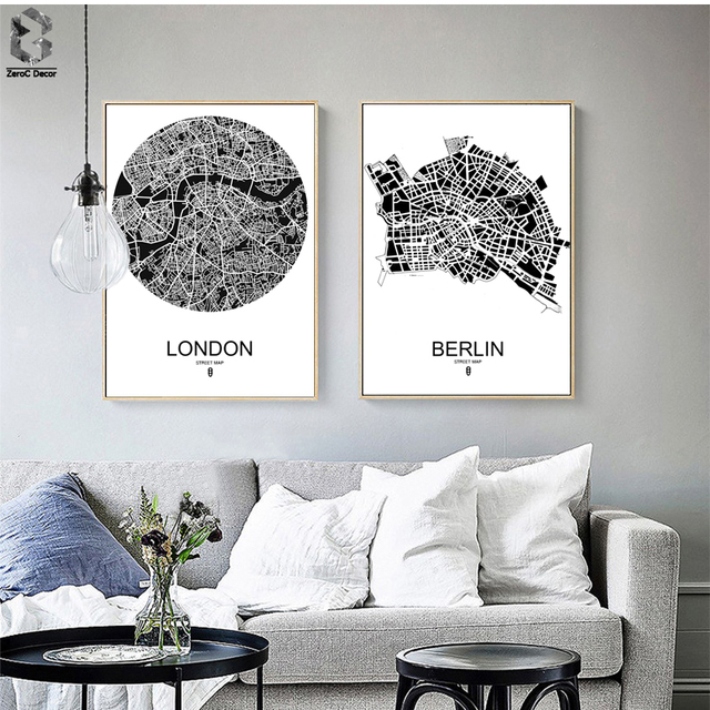 Modern Line Drawing World Map Decorative Painting Black White Minimalist  Art Canvas Print Office Living Room