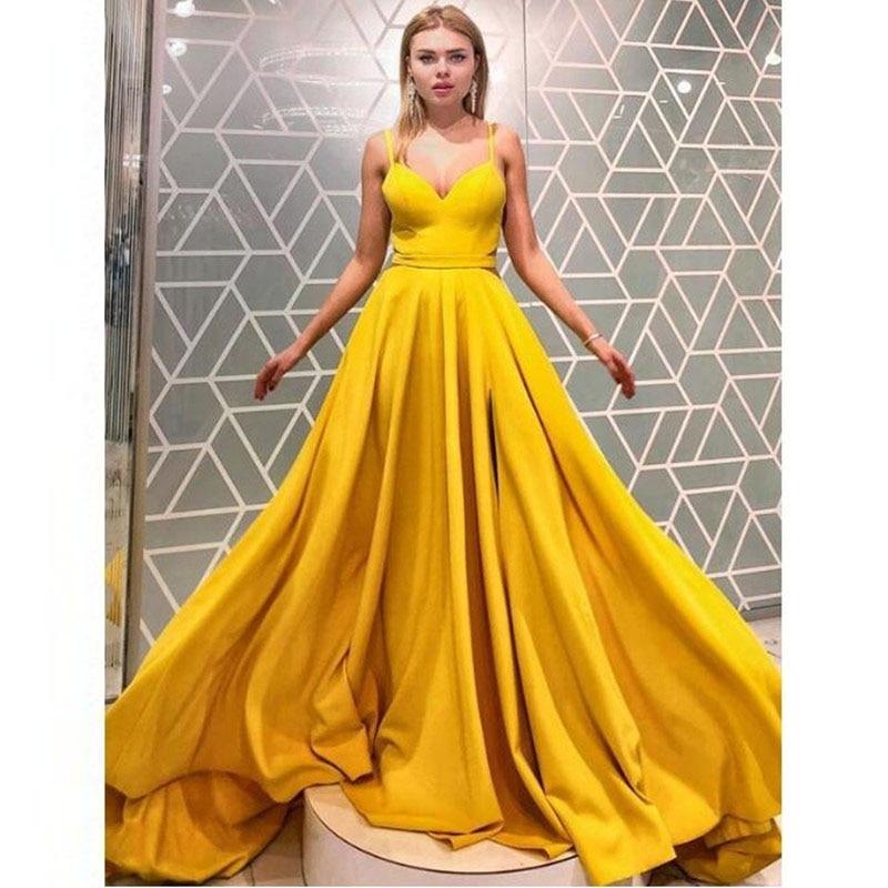 Espagueti Cuello Moda En Vestidos 2019 Largo Satén Graduación Correas Fiesta V De Baile Formal Sirena Amarillo Vestido 4zqnB0qU