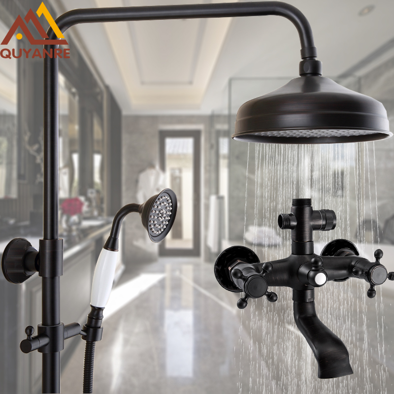 "wall mount bathroom blackend orb 8"" rainfall shower faucet"