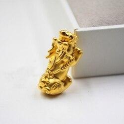 新しい到着純粋な999 24 kイエローゴールド女性の3dコイン貔貅ペンダント1.3-1.6グラム