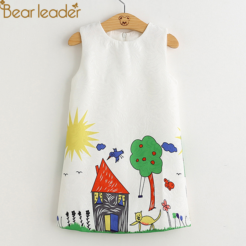 Oso líder vestidos de niñas 2018 nueva marca primavera vestido de princesa para niños ropa Graffiti diseño de la impresión de ropa de bebé niñas 3-8Y