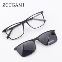 Fashion Men TR90 Sun Glasses Frame Magnetic Clip On Polarized Lens Frame Glasses Dual Purpose Sunglasses Vintage Sunglass #7056
