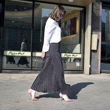 Vintage High Waist  Pleated Skirts Women Maxi Skirt Black And White dot Faldas Saia Long Skirt