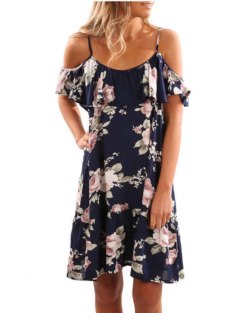 Hitmebox 2018 Women Summer Fashion Cold Shoulder Spaghetti Straps Floral Flower Frints Frills Knee Length Casual Loose Dress