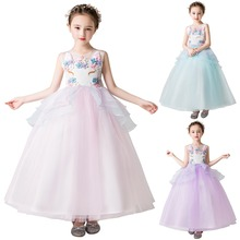 Fashion Kids Girls Unicorn Flower Dress Party Birthday Cosplay Princess Wedding Ball Gown Long Dresses