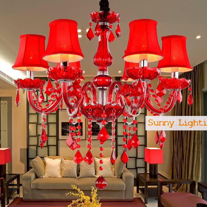 Modern Red Chandelier Crystal Lamp For Wedding Room Cafe Red Shades - Chandelier crystals red