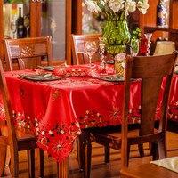 Marca de natal bordado plástico cetim vermelho toalha de mesa cheia bordado vinil toalha de mesa sobreposição casamento mesa redonda tecidos