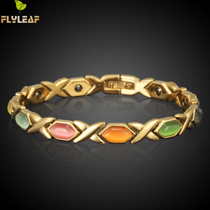 Flyleaf Europe Health Magnet Bracelet True Gold Color Opal Bracelets & Bangles For Women Jewelry Wholesale Pulseira Feminina ...