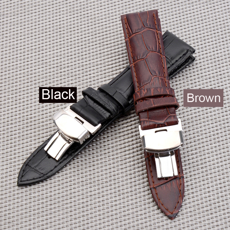 Watch Band Strap Butterfly Pattern Genuine Leather Deployant Buckle Bracelet Brown Black Watchbands 18-24mm