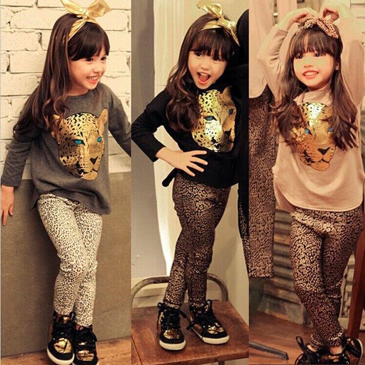Cnjiayun Комплекты одежды для девочек малышей леопардовым узором Обувь для девочек Одежда для маленьких детей футболка с длинными рукавами + Бр...