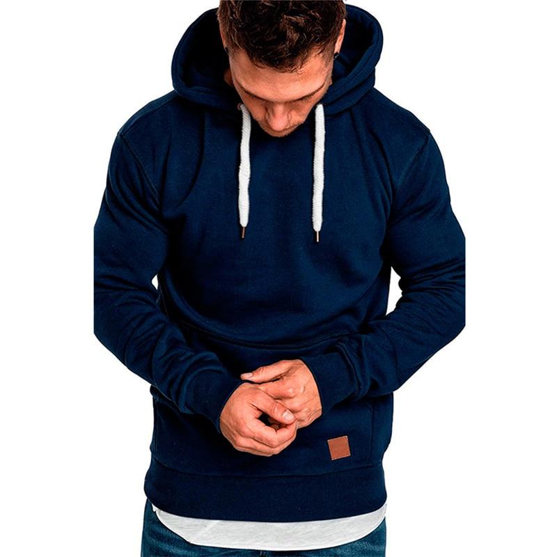 2019 New Men's Solid Color Sweatshirt Outdoor Fitness Sportswear Casual Fashion Hoodie Big Pocket Loose Hoody Pullover 5XL