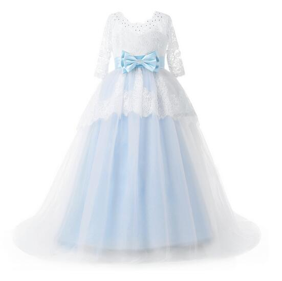 Girl's Formal Dress 2017 Longsleeve Girls Princess Dresses Floor Length Kids Lace Gauze Party Gowns Children's Wedding Dress floor length plus size lace formal dress