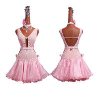 Shiny Rhinestones Female Latin Dance Dress Light Pink Pleated Princess Skirt Women Latin Dresses Competition Clothing