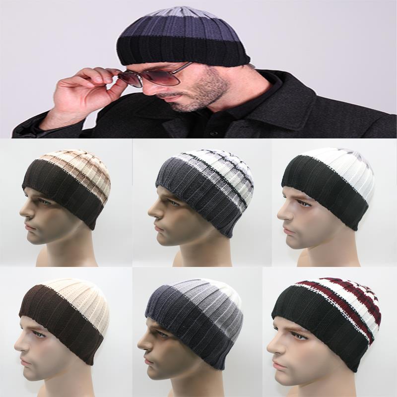 2017 New Men Women Winter Hat  knit Wool Knited Beanies Hats Stripe Outdoor Warm Head Cap 8 Color  от Aliexpress INT