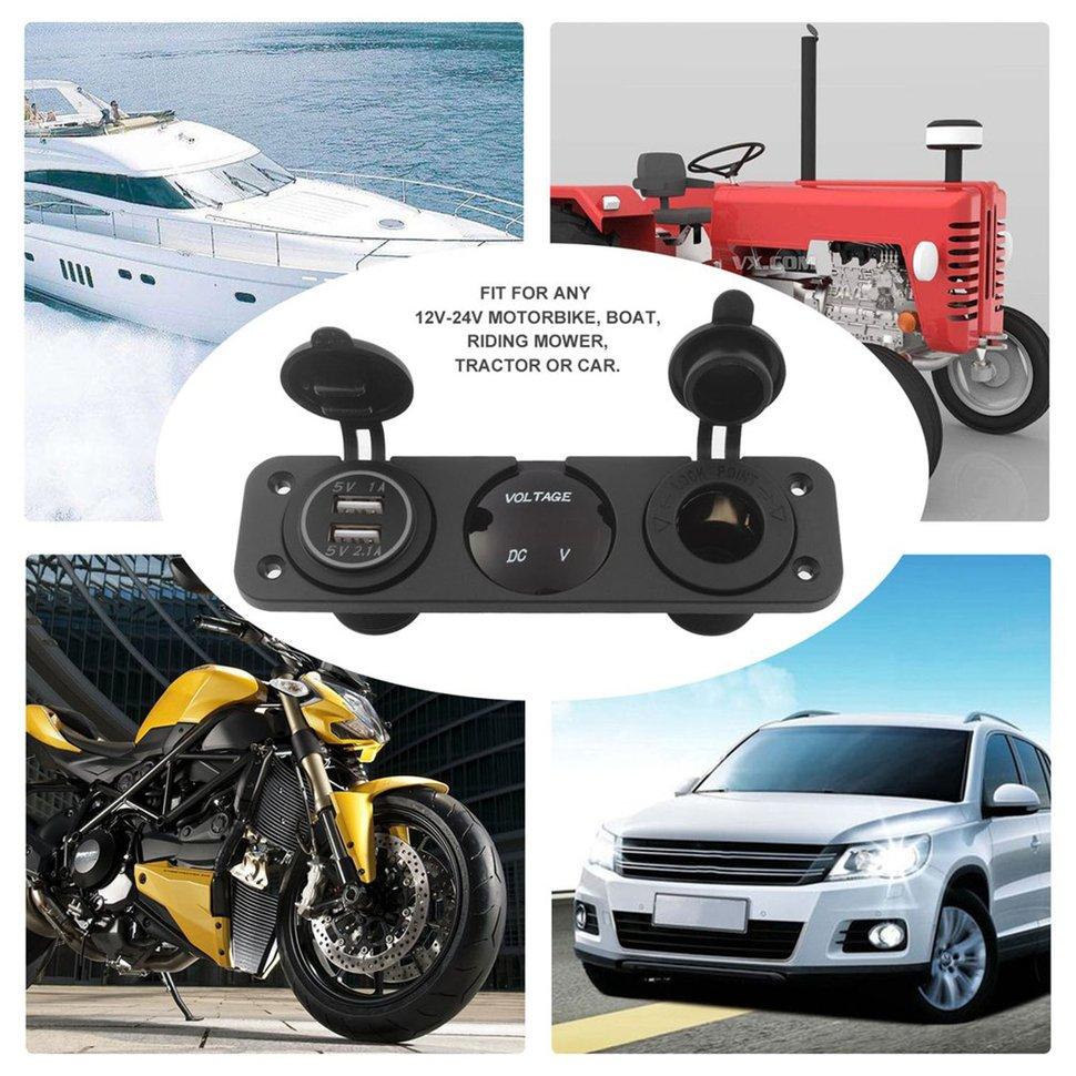 Hot Sale 10pcs Led Dual Usb Car Charger Voltmeter 12v Socket 3 Hole Panel Boat Marine