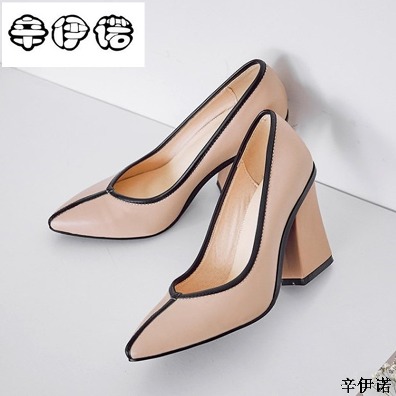 New High quality Genuine leather office shoes sweet women spring summer square heeled dress party shoes sexy lady pumps shoes new hollow pointed stiletto elegant spring summer women pumps sweet bowknot high heeled shoes thin pink high heel shoes k88