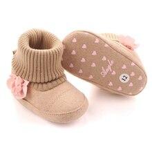 Милые теплые ботинки с цветочным принтом для новорожденных; сезон осень-зима