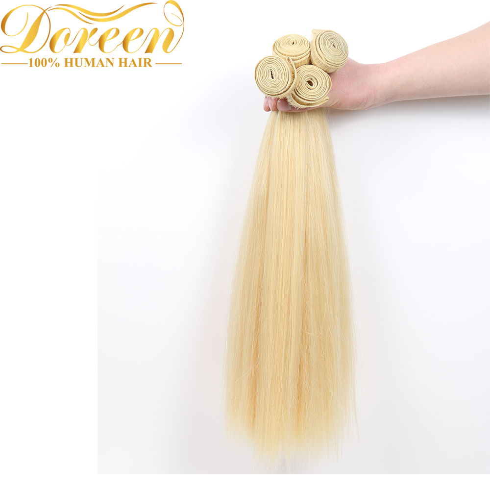 Doreen Brazilian Blonde #613 Straight Hair 100% Human Hair Weaving 24 26 28inches One Platinum Bundles Remy Hair Extension