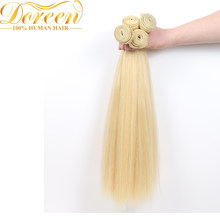 Doreen Brazilian Blonde #613 Straight Hair 100% Human Hair Weaving 24 26 28inches One Platinum Bundles Remy Hair Extension(China)