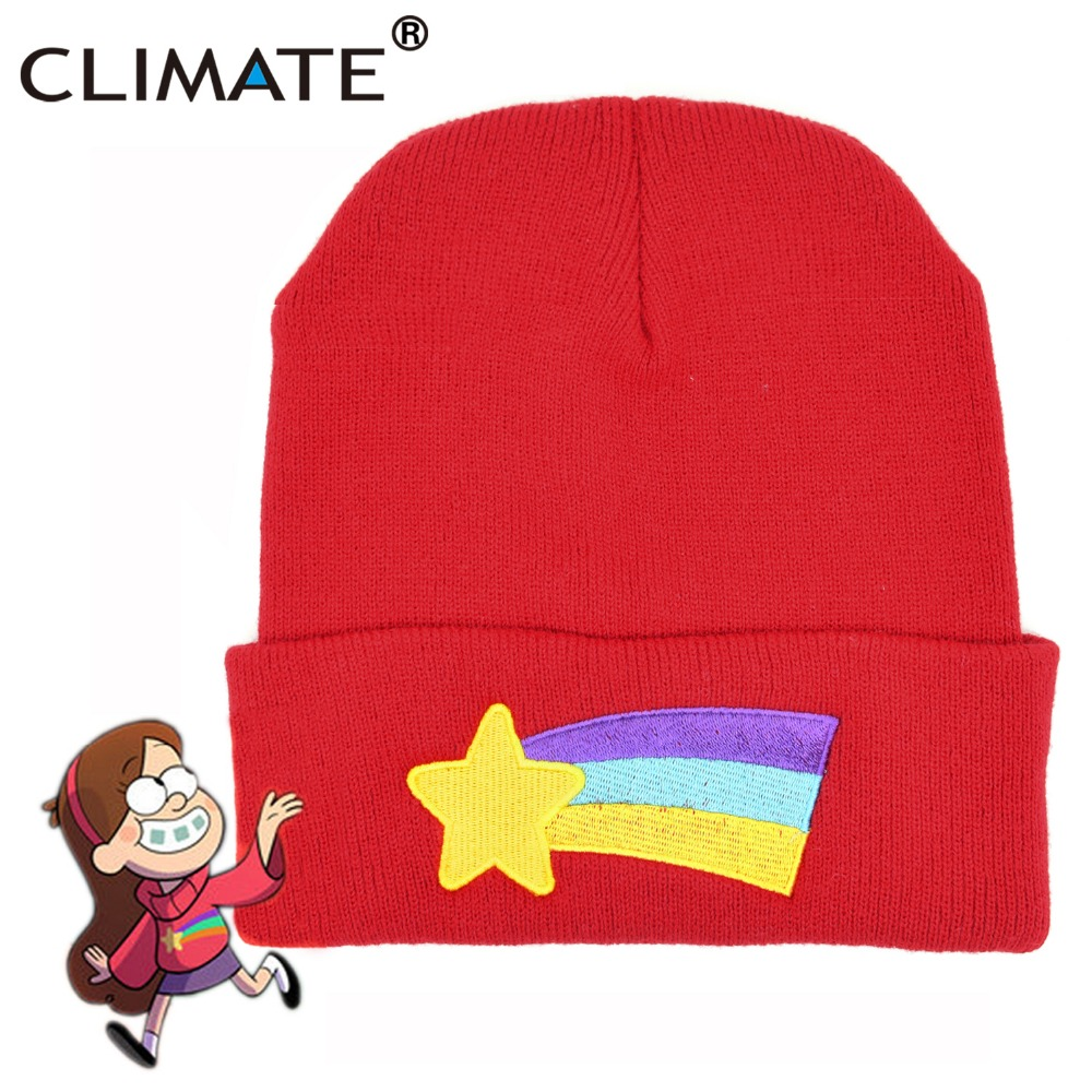 CLIMATE Girls Women Winter Warm Hat Gravity Falls Dipper Mabel Pines Red Knit Beanie Shooting Star Anmation Nice Red Acrylic Hat gravity falls dipper s and mabel s guide to mystery and nonstop fun