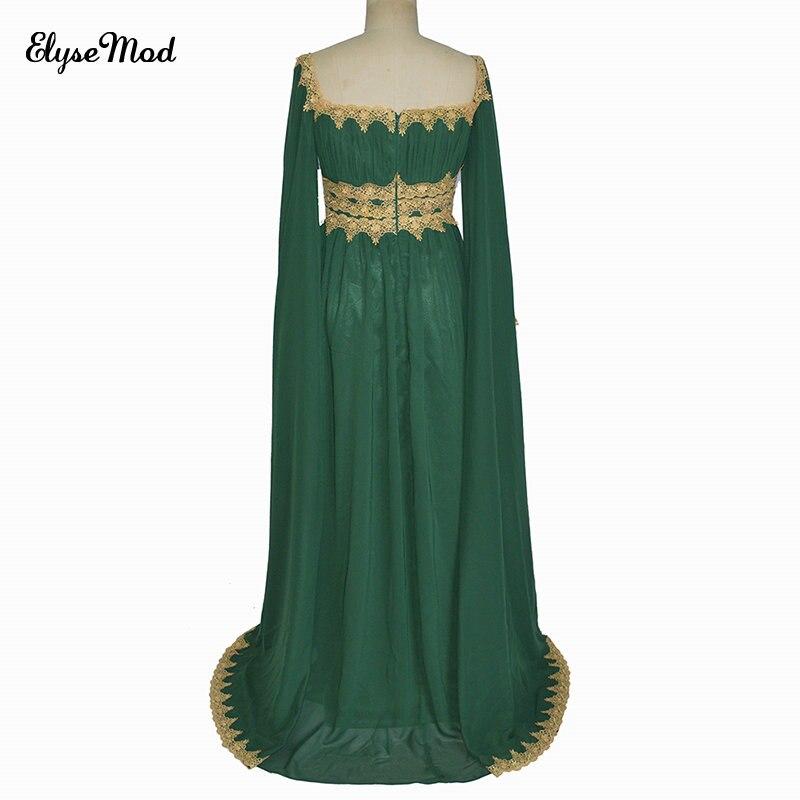 Nouveauté robes de soirée droites 2017 vert manches longues en mousseline de soie glamour Sexy ruché rouge dentelle robes de reconstitution historique robes de bal