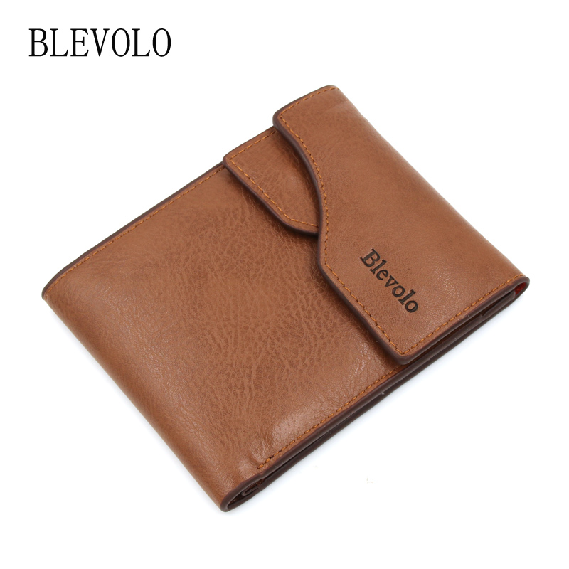 BLEVOLO New Arrival Men Wallets PU Leather Wallet Designer Short Wallet Card Bag High Quality Money Purse Coin Holder Men Purse купить