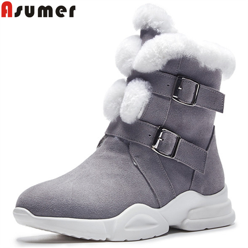 ASUMER 2018 fashion ankle boots for women round toe buckle suede leather boots short plush keep warm snow boots ladies shoes стоимость
