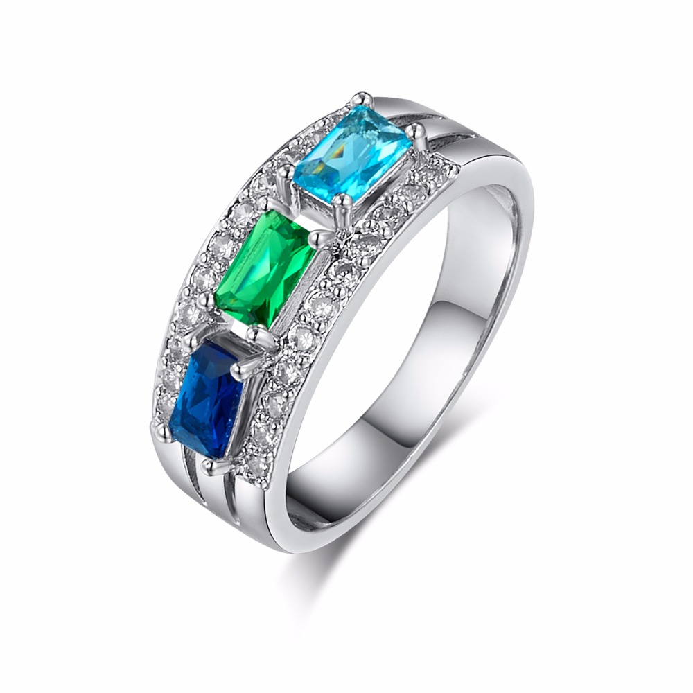 Top Quality New Fashion Blue Green AAA Zircon Crystal Silver Ring for Women Luxury Jewelry Wedding