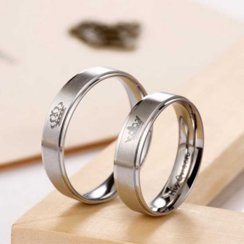 Gaxybb Free shipping Stainless Steel Rings Lover design from YOUR QUEEN and YOUR KING couple rings for lovers