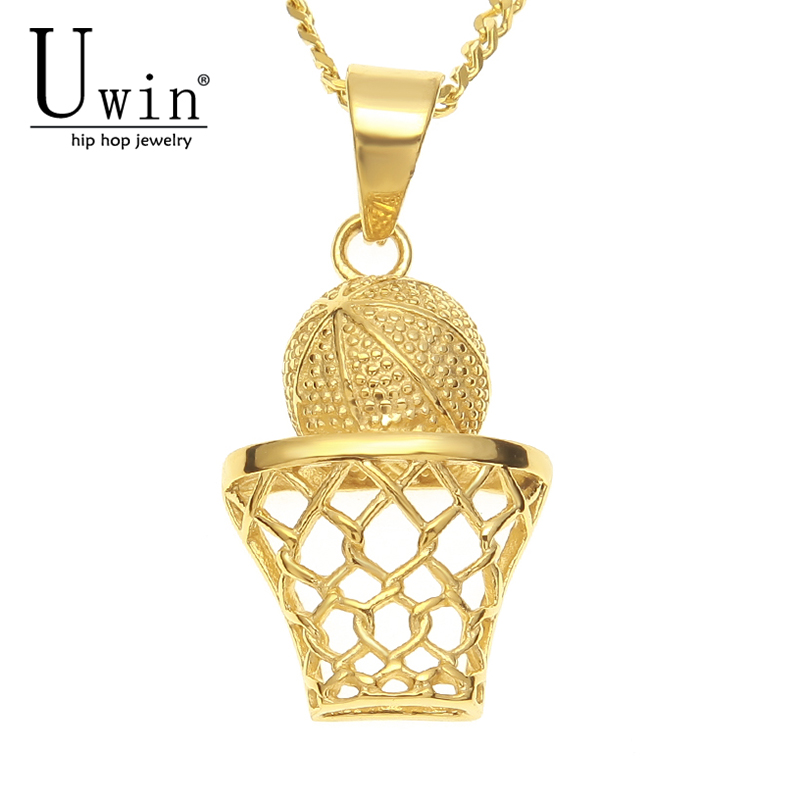 UWIN Stainless Steel Golden Basketball Hoop Pendant Charms Necklace Men Hip Hop Fashion Punk Rock Jewelry Making Supply
