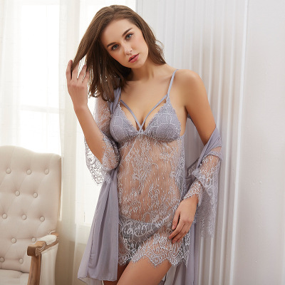 Daeyard Silk Sexy Lingerie Women Transparent Lace Trim Night Dress And Robe G-string 3Pcs Robe Gown Set See Through Sleepwear