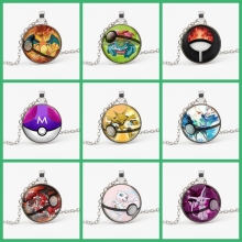 Fashion New Pokemon Eevee Necklace Pokeball Glass Caboline Statement Chain Pendant Female Jewelry Gift Choker Souvenirs