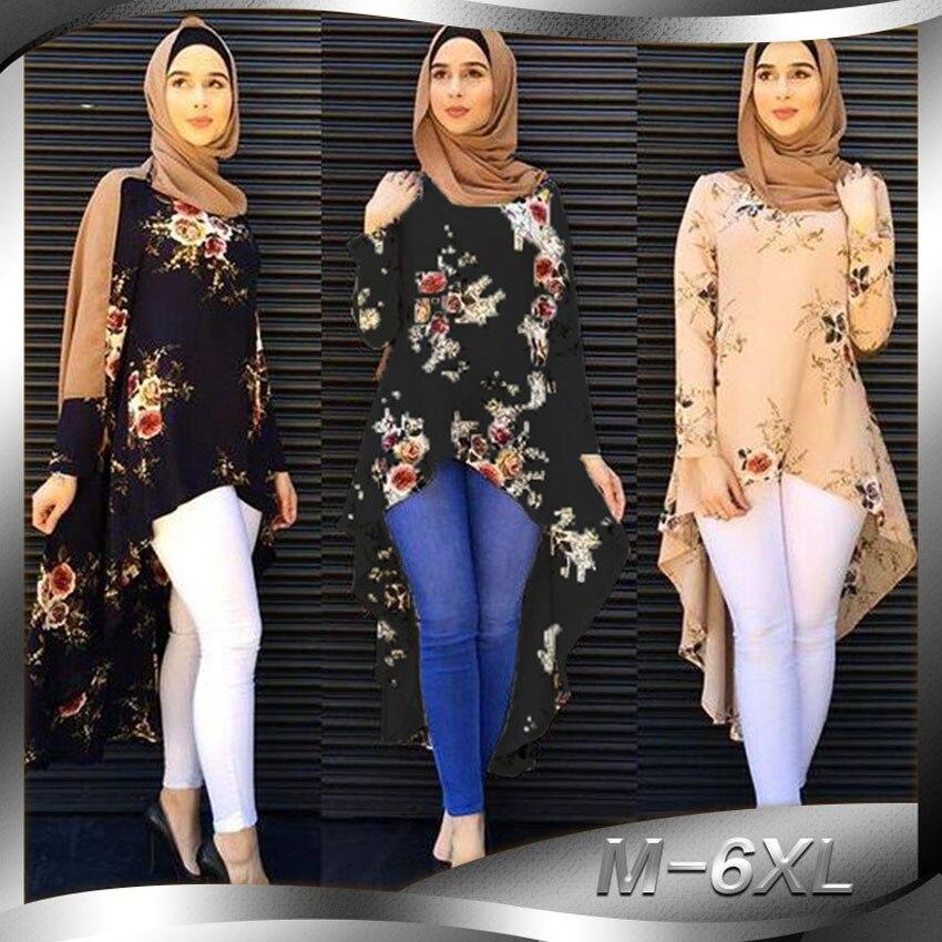 Irregular Style Muslim Tops Women Floral Islamic Dress Abaya Polyester Worship Service Ramadan Eid Mubarak Clothing Costumes Рубашка
