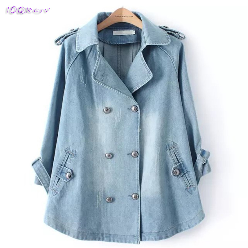 2019 spring plus size women coat large loose denim female   trench   coat Casual windbreaker elegant long coats tops IOQRCJV T295