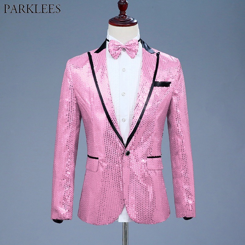 Pink Sequin One Button Dress Blazers 2018 Brand New Nightclub Prom Men Suit Jacket Wedding Stage Singer Costume (Bowtie Include)