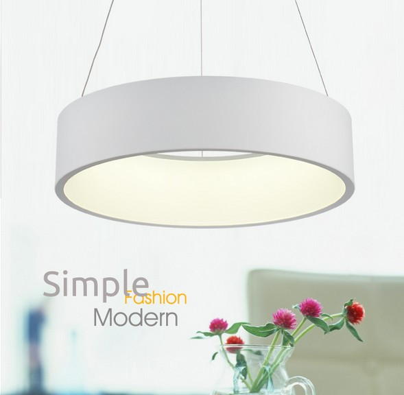 Simple Creative Round Acrylic Droplight Modern LED Pendant Lamp Fixtures For Dining Room Hanging Light Home Lighting Lamparas 40cm acrylic round hanging modern led pendant light lamp for dining living room lighting lustres de sala teto