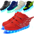 Children Usb Charging Led Light Shoes Sneakers Kids Light Up Shose with Wings Luminous Lighted Boy Girl Shoes Chaussure Enfant