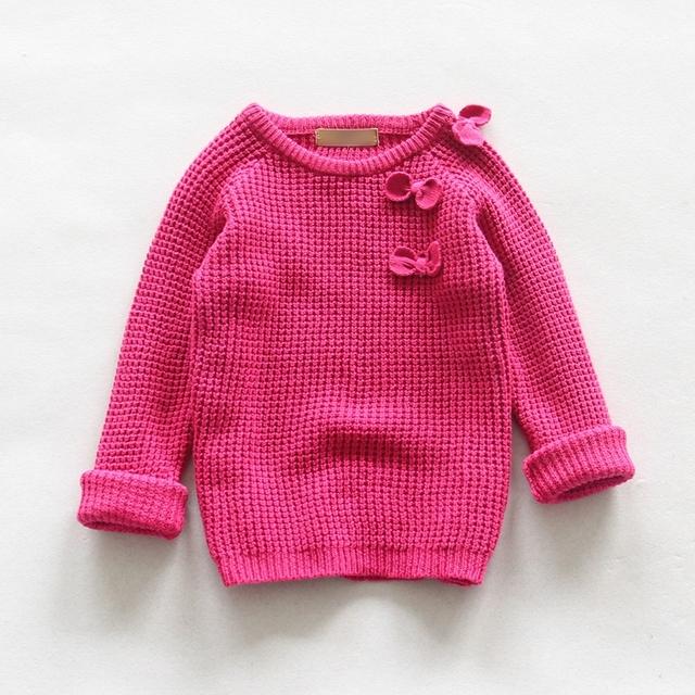 Moda 2016 Otoño boutique de ropa para niñas de primavera lindo arco suelta de manga larga niños suéteres ropa de los niños