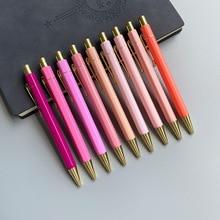 50pcs אופנה יוקרה עט חצי מתכת עט כדורי חמוד בהיר צבע Rollerball עט עבור אספקת דברים משרד