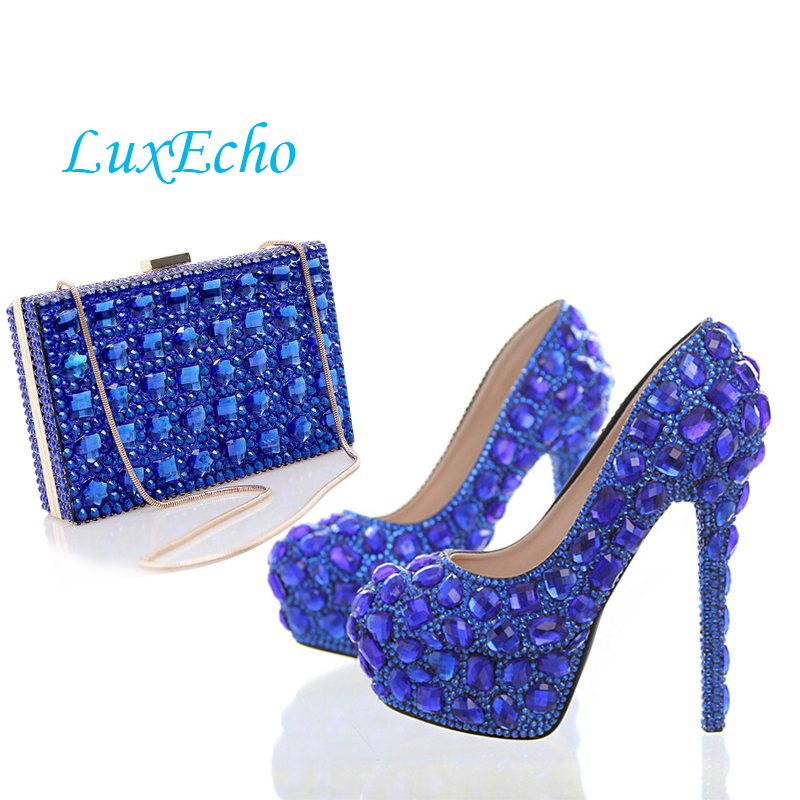 New Royal Blue crystal Wedding/party shoes and bags to match woman Fashion High shoes women's Pumps  shoe and bag set aidocrystal fashion handmade crystal diamond party pumps shoes and bags matching wedding shoe and bag sets